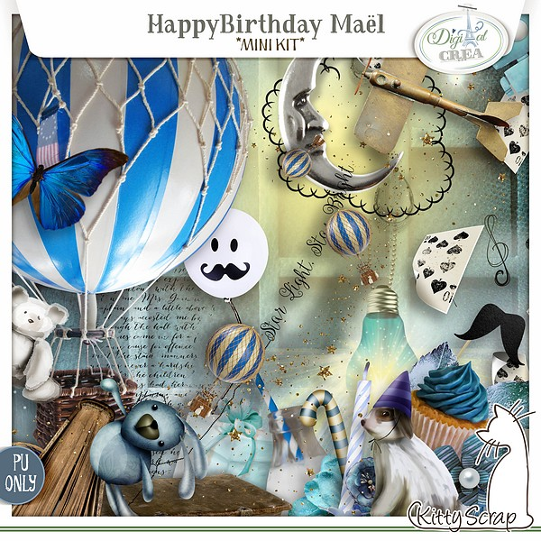 mini kit happy birthday Mael de kittyscrap