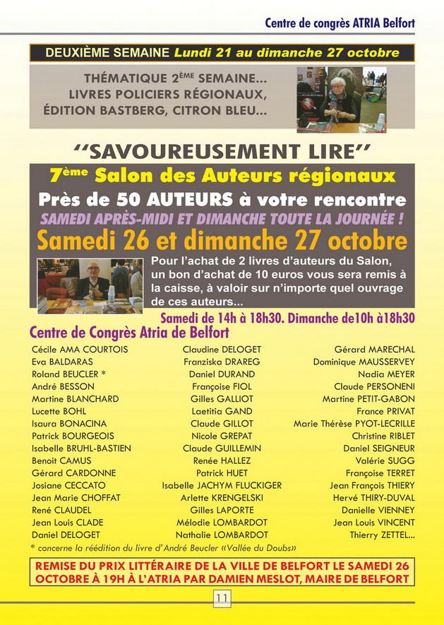 """A Belfort, au salon """"Savoureusement Lire"""", les 26 et 27 octobre 2019"""