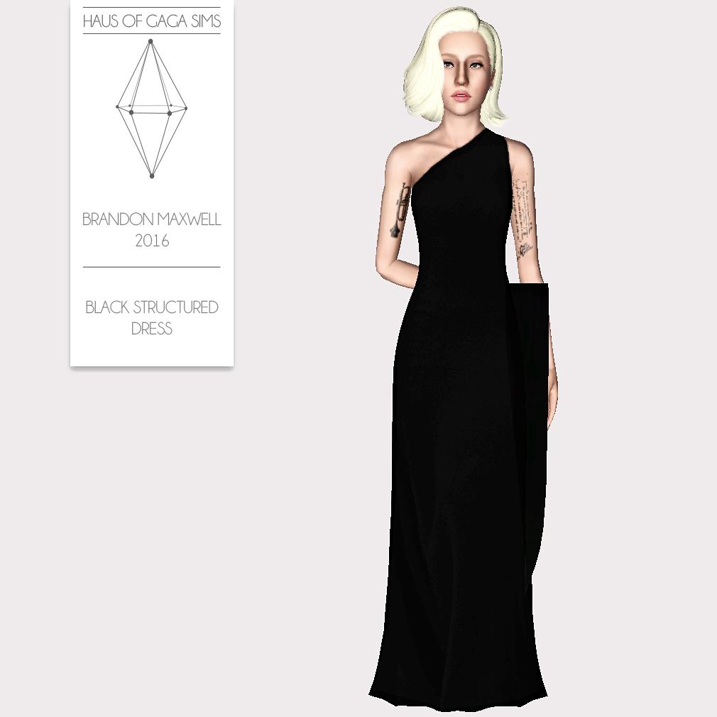 BRANDON MAXWELL 2016 BLACK STRUCTURED DRESS