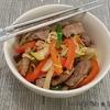 boeuf soja sucré et nouilles aux petits légumes
