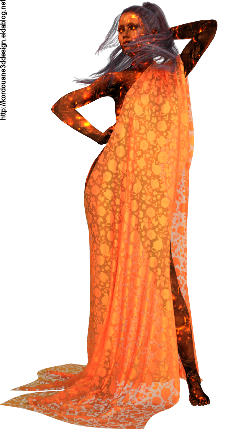 Tube de femme de feu (image en png)