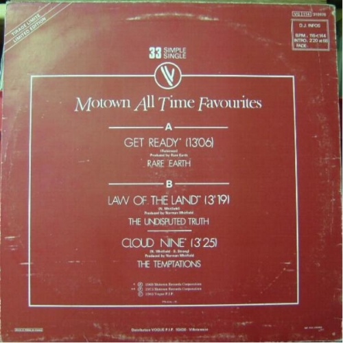 1983 : Single 12 Inch Tamla Motown / Vogue Records 310978 [ FR ]
