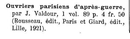 Jacques Valdour, Ouvriers parisiens d'après-guerre (1921)