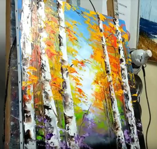 Dessin et peinture - vidéo 2492 : La forêt en automne, pour débuter - Huile ou acrylique au couteau.