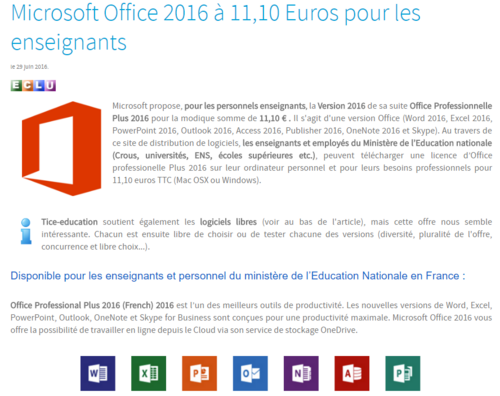 Le pack office à 11,10€