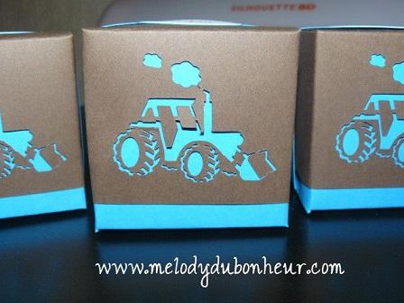 Boites à dragées thème : tracteur bucheron