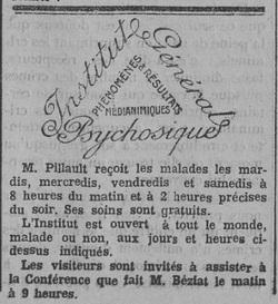 Encart dans Le Fraterniste (Revue générale de psychosie)(de Paul PILLAULT & Jean BÉZIAT)
