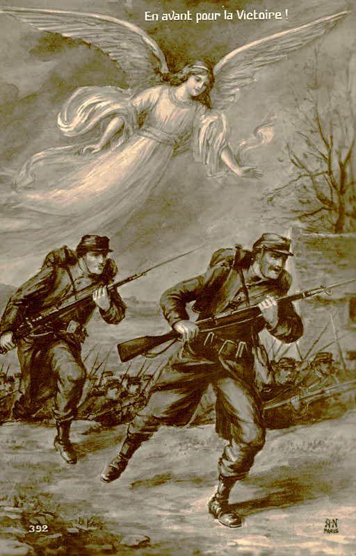 carte postale 1914 soldats  - Ange de la victoire
