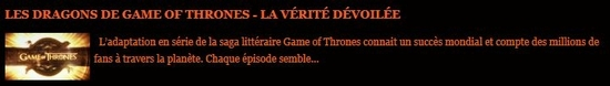 les dragons de game of thrones
