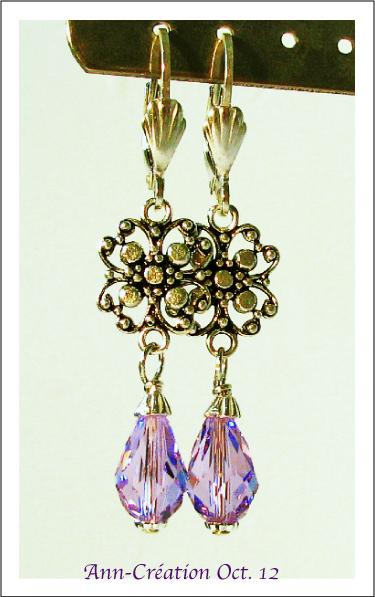 Boucles Dormeuses Gouttes Cristal de Swarovski Parme / Argent 925