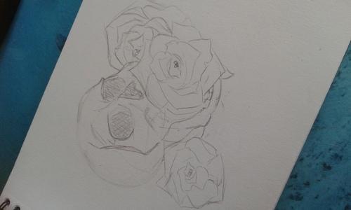 Crâne aux 3 roses