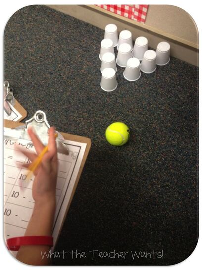 Subtraction bowling…fun & hands-on.