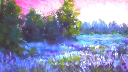 Dessin et peinture - vidéo 2054 : Préparer le support pour peindre un paysage au pastels en utilisant de l'alcool.