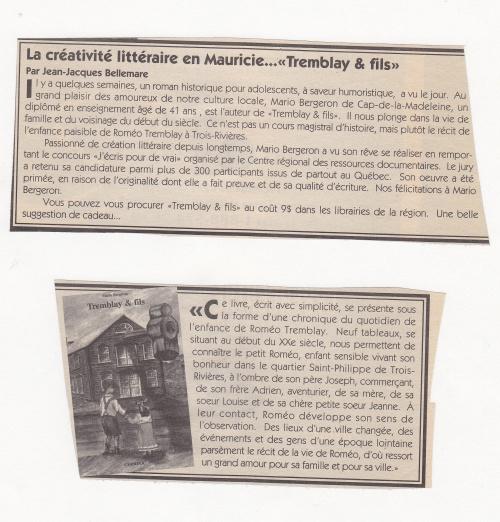 Presse : Tremblay & Fils