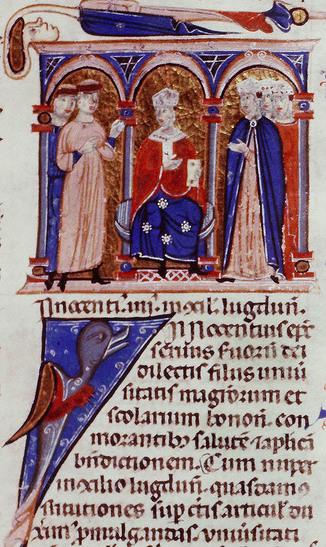 Enluminure médiévale d'un ouvrage, trois arches en plein cintre; sous l'arche centrale siège le pape.