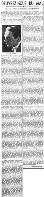 Délivrez-nous du mal - Une vie d'Antoine le Guérisseur, par Robert Vivier (La Nation Belge, 5 février 1936)(Belgicapress)
