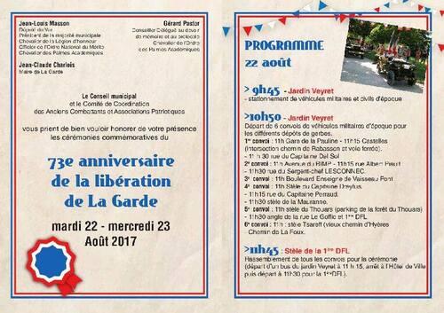 * 77e anniversaire du Débarquement et des Libérations de la DFL en Provence : la Délégation de la Fondation de la France Libre du Var communique le programme