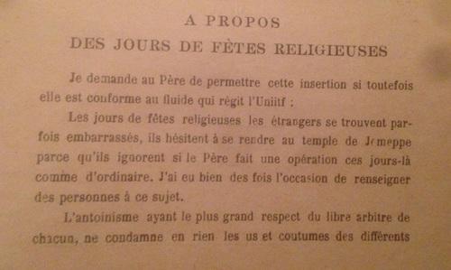 À propos des jours de fêtes religieuses (Unitif 11, vers 1940)