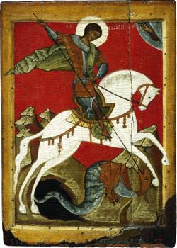 Saint Georges à Cheval, Saint Petersburg, 14e siècle, école de Novgorod