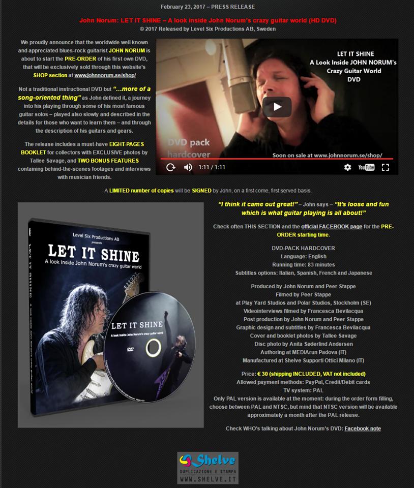 John Norum : sortie de son dvd de guitare