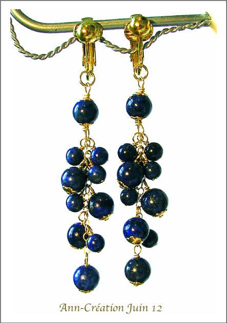 Boucles Clips Lapis Lazuli en Grappe / Plaqué Or