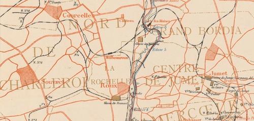 Roux-Wilbeauroux (Carte industrielle du bassin houiller de Charleroi par Félix Jottrand)(gallica)