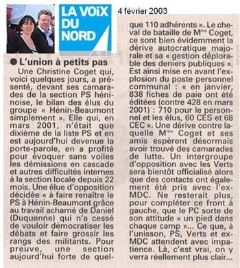 02  4 février Section PS Héninoise Christine et Daniel démocratisent