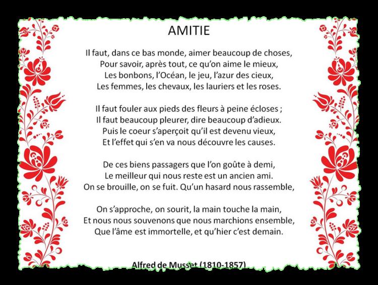 """""""Amitié"""" poème d'Alfed de Musset"""