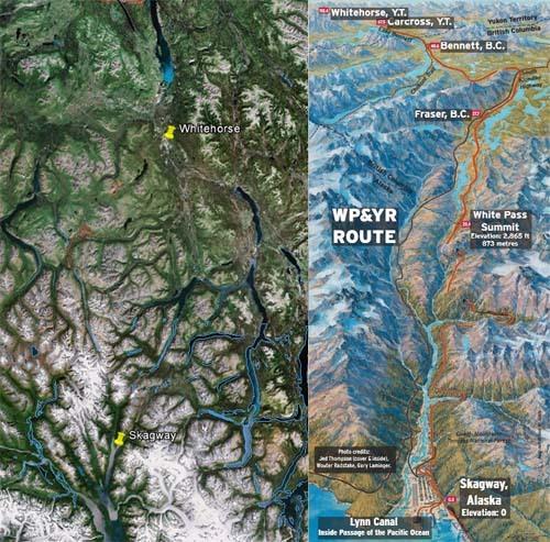 Le parcous du train White Pass et Yukon Route entre l'Alaska et le Yukon.