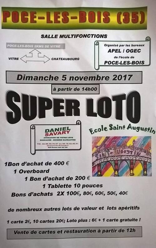 SUPER LOTO Organisé par l'APEL le 5 novembre 2017