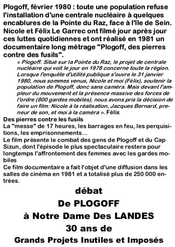 """Info en partage : Projection/Débat : """"Plogoff, des pierres contres des fusils"""" à Graulhet !"""