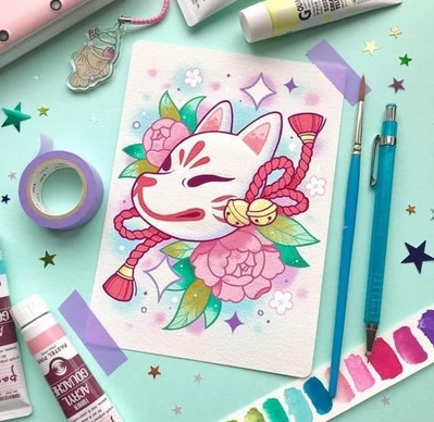 Dessin n°4 (confinement) : masque de Kitsune