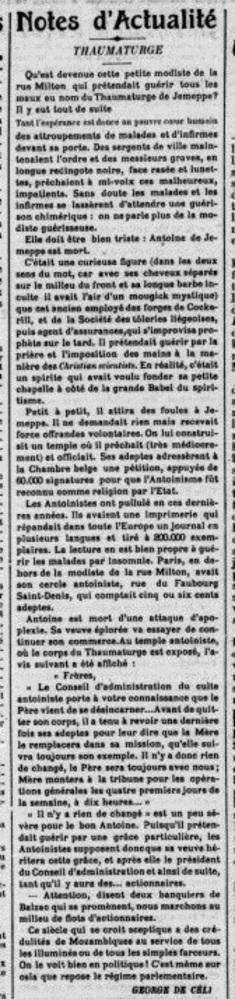 Notes d'actualité (La Gazette de France 28 juin 1912)