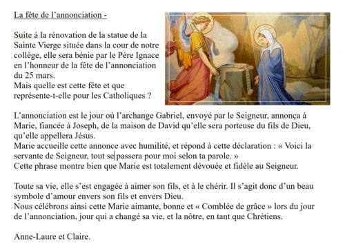 Bénédiction de la statue de la Vierge