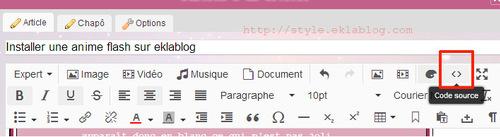 Installer une anime flash sur eklablog