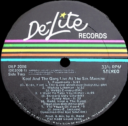 "Kool & The Gang : Album "" Live At The Sex Machine "" De-Lite Records DE 2008 [ US ]"