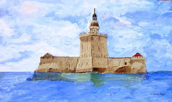 Blog de cathycolor : Artiste mal-voyante, Fort-Louvois. ACRYLIQUE + MORTIER SUR TOILE.