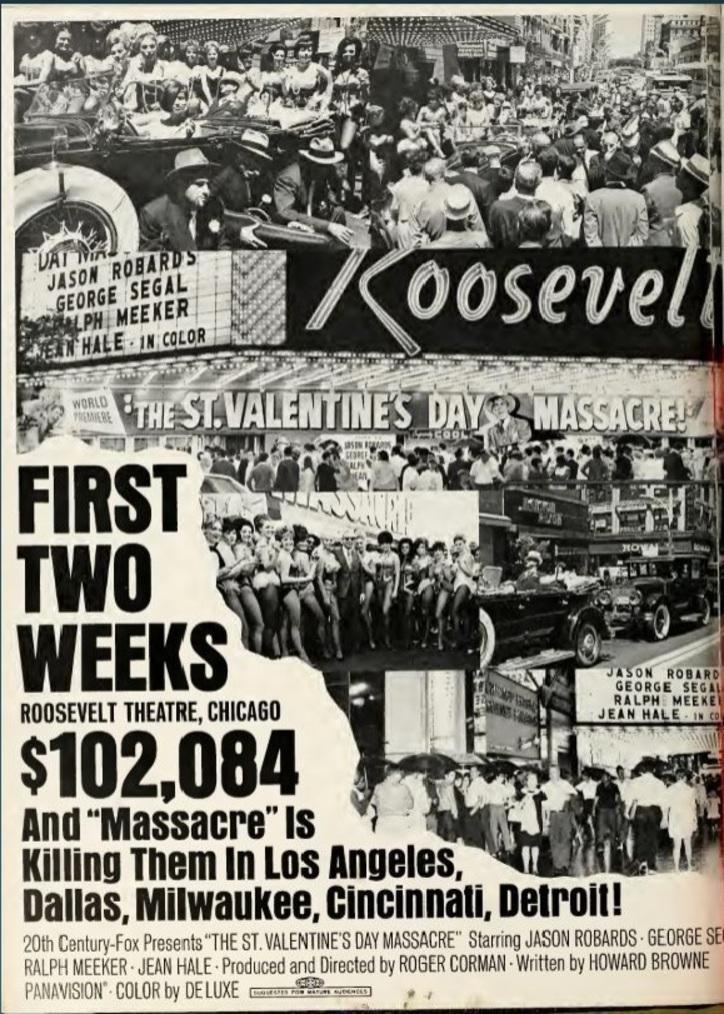 THE ST.VALENTINE'S DAY MASSACRE BOX OFFICE USA 1967