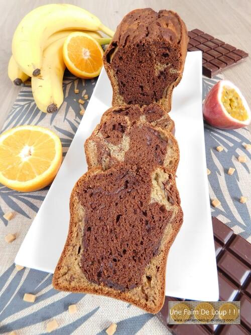 Banana bread marbré