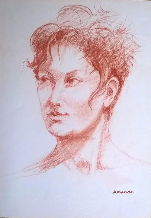 Mardi - Portrait à la sanguine