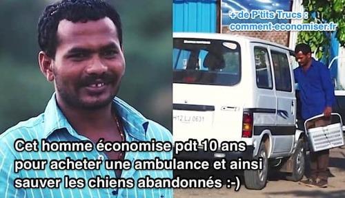(-*♥*-)  Cet Homme Économise Pendant 10 ans Pour Acheter une Ambulance et Ainsi Sauver les Chiens Abandonnés