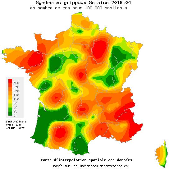 carte de france actuelle de la grippe