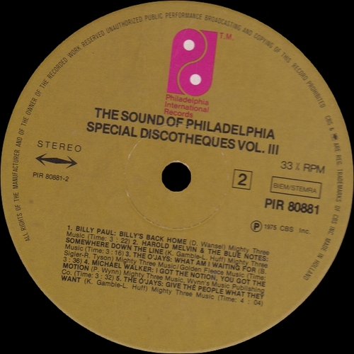 "Various Artists : Philadelphia Sound "" Special Discotheques Volume 3 "" Philadelphia International Records PIR 80881 [ FR ]"