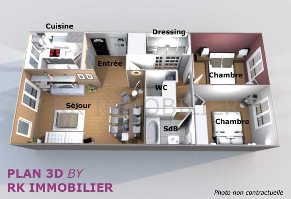 plan appartement 3 chambres 3d