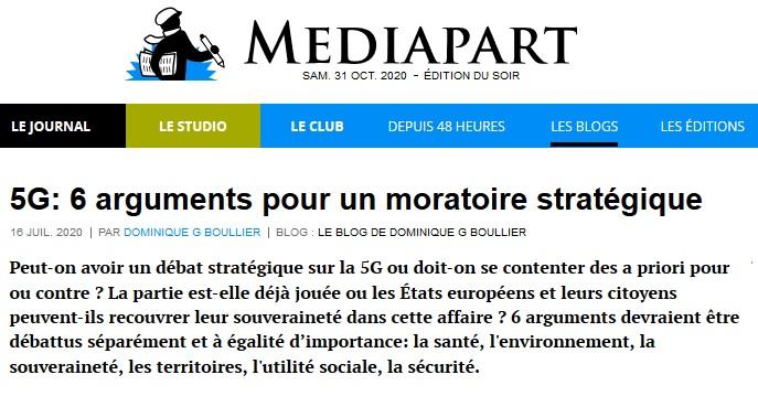 Mediapart >> 5G: 6 arguments pour un moratoire stratégique