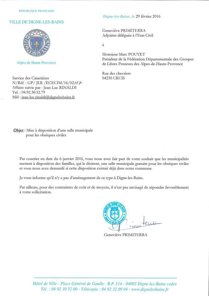 Obsèques civiles: réponse mairie de Digne les Bains
