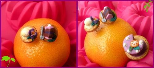 Boucles d'oreilles Marie Antoinette, Chocolat, violette et glace vanille.