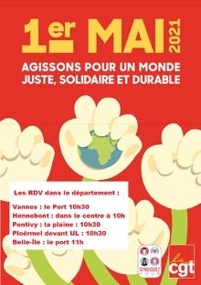 1er mai 2021 en Morbihan : Ensemble pour les droits sociaux et les libertés  (cgt56.fr-26/04/21)