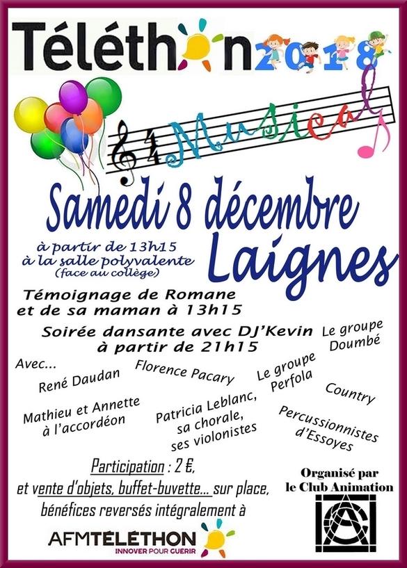 Le Téléthon de Laignes aura lieu samedi 8 décembre 2018