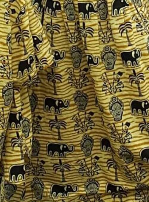 Robe jaune Éléphants et masques
